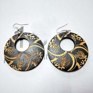 Black Wood Round Africa Handmade Flor gravada DIY brincos de madeira vintage étnica acessórios orelha jóias