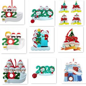 PVC 2020 cuarentena adorno de navidad el árbol de navidad colgantes regalo de la decoración de Navidad Familia de ornamento con máscara mano Sanitized E101203