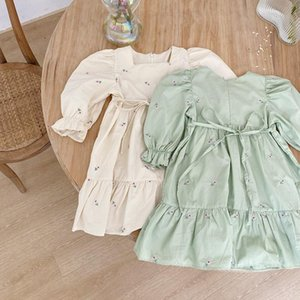 2020 Autumn New Children Embroided Princess Dress Girls Small Flower Cotton Long Sleeve Fashion Dress Baby Casual Clothing