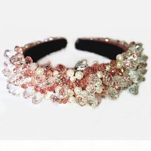 Luxury Baroque Crown Tiaras Crystal Beads Shiny Water Drop Hair Bands Wide Headbands Wedding Hair Jewelry Party Hair Accessories X912