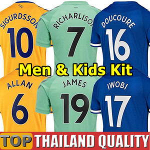 20 21 Everton Soccer Jerseys James Allan Doucoure Camicia da calcio Set Portiere 2020 2021 Kean Richarlison Portiere Tailandia Uomo Kid Kit Uniformi