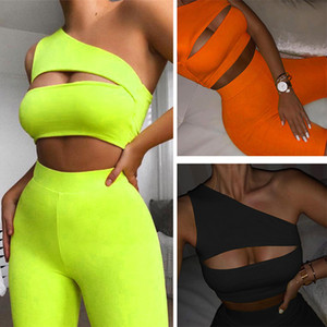 Summer Women neon color two pieces Sportswear tracksuit Sexy Cut Out One Shoulder crop top Biker Shorts legging Set Fitness Sweatsuit Outfit