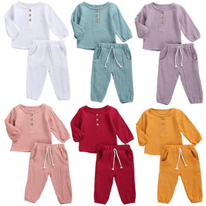 Fashion Autumn Kids Baby Girls Boys Outfit Suit Cotton Linen Solid Casual Toddler Infant Long Sleeve Tops+Pants Clothes Set