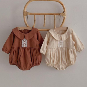 2021 New Autumn Bodysuit Ruffles Princess Kids Vintage Long Sleeve Jumpsuit Girl Clothings Baby Clothes Y1rc