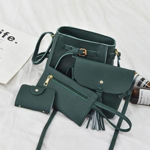 Nuevo paquete de madre e hijo de cuatro piezas 2021 Cubo coreano Bolsa de bolsas para mujer Bolsa de hombro Mensajero Monedero Monedero salvaje