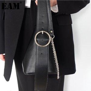 [Eam] Mulheres Novas Correntes Pretas Pequeno Bucket PU Personalidade de Couro All-Match Crossbody Ombro Saco Fashion Tide 2021 18A1430