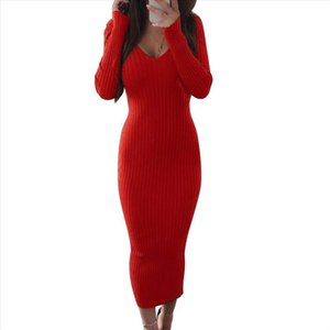 Hot apparel Women Solid Color Ribbed Knitted Backless V Neck Bodycon Long Sleeve Maxi Dress Drop Shipping