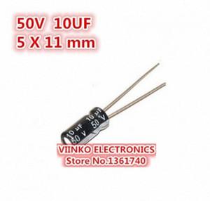 Wholesale- Free shipping 500pcs 10UF 50V 5X11mm Electrolytic Capacitor 50V 10UF 5*11mm Aluminum Electrolytic Capacitor V4Uv#