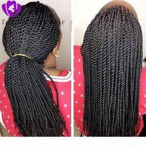 Sentetik Örgülü Dantel Açık Peruk İçin Siyah Kadın 1b Isıya Dayanıklı 28 İnç Saç Örgü Peruk Premium Örgülü Örgü Peruk çevirin