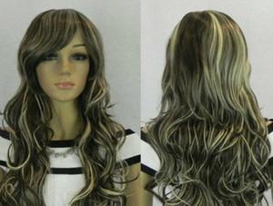 New long dark brown&gray mixed Curly Cosplay hair Wig