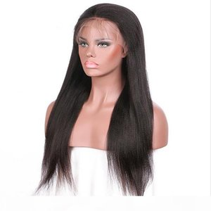 Lace Front Wig #1b Yaki Straight Indian Human Hair Baby Hair Swiss Lace Full Lace Wigs for Black Woman Free Shipping