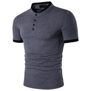 Mens 2020 Luxo Designer Polos Slim Stand Collar Manga Curta Polo Pullover Esporte Tshirt Male Roupas
