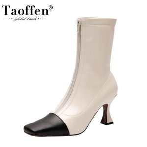 TAOFFEN Women Geneuine Leather Shoes Ankel Boots Sqaure Toe Zipper Mixed Color Thick Heel Fashion Ladies Footwear Size 34-42