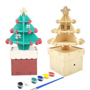 Wooden Craft Ornament DIY Christmas Tree Music Box Christmas Theme Music Box Building Blocks Tree House Children Gifts