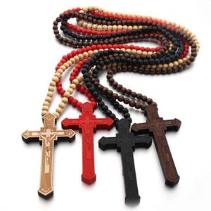 """36"""" Collier long Rosaire Grand Bois Jésus-Christ Pendentif croix avec des perles en bois Collier chaîne Pull Homme Jewel Statement"""