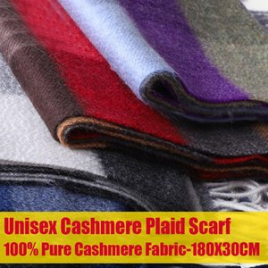 Cashmere Scarf for Women Men Thick Plaid 100% Pure Cashmere Scarves Unisex Winter Warm Plaid Long Scarves with Tassel Shawl Wrap