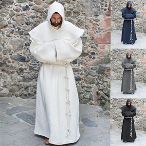 Medieval Cosplay Costumes For Man Halloween Vintage Renaissance Wizard Monk Priest Hooded Cloak Party Solid Cape Robes 201104