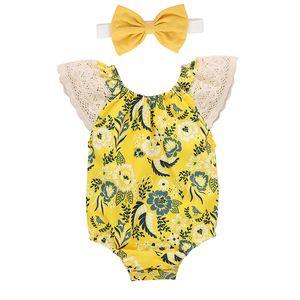 Floral Recém-Newborn Bebê Macacão Lace Sleeve Infantil Onesies Meninas Romper Sets Bebê Outfits Casual Ropa de Bebé Crianças Roupa Terno 06210123