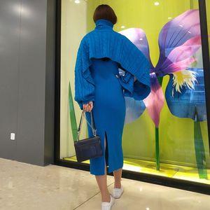 Celebrity Fashion temperamento gilet di maglia fessura Coat wrap dress hip abito Capo maglione allentato tuta sportiva di autunno Y6FRM