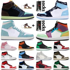 2020 Jumpman 1 1s Молодежные Мальчики Мужчины Женщины Высокие ретро ботинки баскетбола Travis Скоттс Бесстрашный Obsidian UNC Атлетика кроссовки мужчина Спортивная обувь
