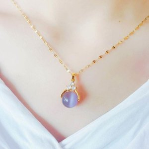New Transfer Bead Necklace Titanium Steel Will Turn Opal Necklace 18k Gold Clavicle Chain Jewelry
