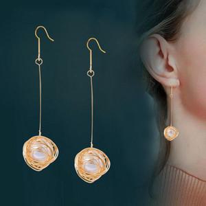 SINLEERY elegante White Pearl inside longo Brincos Ouro Amarelo Cor Prata Brincos de casamento para as mulheres Jóias ES726 SSA