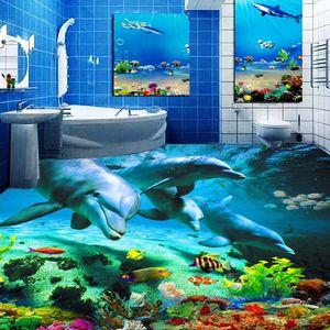 Pegatina de piso 3D personalizada Océano World Dolphin Aseos Baño Dormitorio Dormitorio Fondo de vinilo PVC Papel pintado impermeable Pintura Moderno 201009