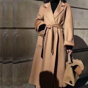Winter Korean Popular High-end Water Corrugated Woolen Overcoat 2019 Fashion Long Bathrobe Style 100% Wool Jacket Coat Women Y1112
