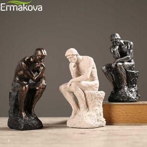 Erakova Soyut Sanat Düşünmek Heykeli Siz Heykelcik Doğal Kumtaşı Craft Heykel Modern Ev Ofis Dekorasyon T200624