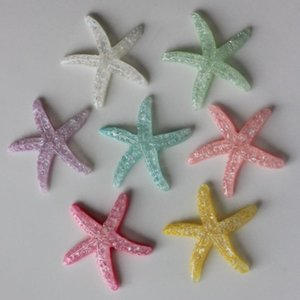 20 50pcsKawaii 38 mm Mixed Color Glitter Cute Resin Starfish Cabochons For Brooch Decorating Ornaments