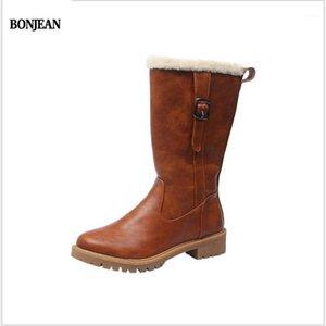 Bonjean Leder Winter Warm Riding Equestrian Schuhe Frauen Stiefel Schnee Mid-Calf Plüsch Pelz Samt Weibliche Regen Booties Frau1