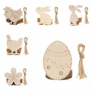 Easter handmade madeira chips coelho galinha galinha mão feita à mão DIY pintado mão ovos Easter party decorações yhm914