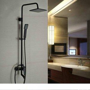 "Bathroom Shower Faucet Set Single Handle 8"" Rainfall Shower System with Tub Spout + Handshower"