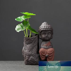 Handmade Gift Creative Decorations Ceramics Hydroponic Vases Zen Monks Feng Shui Ornaments Green Plant Flower Pot Tea Pet