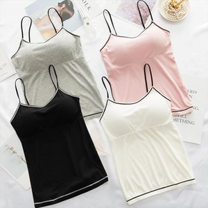 Women Sexy Summer Camis Tanks Tops V Neck Seamless Bra Vest Bottoming Anti light Solid Color Lace Stitching Vest T Shirt