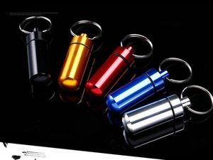 Waterproof Aluminum Pill Box Case Pill Organizer Metal Pill Box Silvery Aluminum Case Bottle Holder Keychains