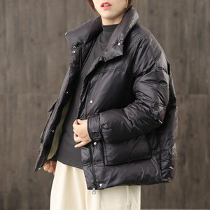 Lightweight Korean Short Bread Jacket Stand Collar Fashion Fall Winter Casual Down Jacket Women Trendy Straight Warm Coat y125