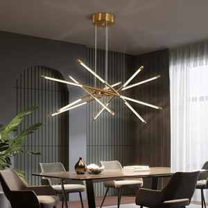 Nordic LED Chandelier Lamps for Home Living Room Dining Bedroom Decoration Modern Golden Loft Villa Hanging LED Lights Lighting