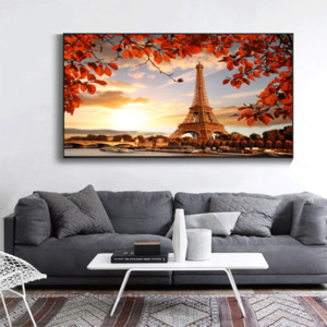 Canvas Painting Wall Posters and Prints Romantic Paris Tower Wall Art Pictures For Living Room Decoration Dining Restaurant Hotel Home Decor