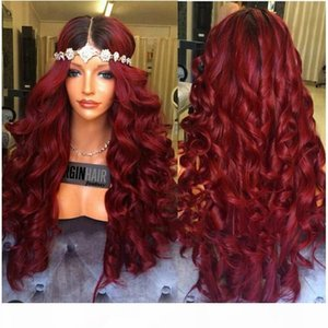 Affordable sexy # 1BT 99J 100% non trasformati prima vergine capelli remy umani lunghi Burg grande parrucca protezione piena del merletto riccia per le donne nere