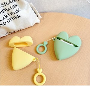 Cute Color Love Sile Bluetooth Earphone Case For Airpods Lovely Ring Lanyard Protective Cover For Airpods B qylnWW