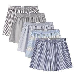 5 pcs Mens Underwear Boxers Shorts Casual Cotton Sleep Underpants Quality Strip Loose Comfortable Homewear Striped Arrow Panties Y200414