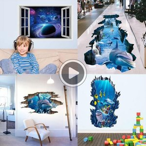 9Z2D 3D Животные Динозавр Sky стены наклейки бумаги Spa Planet GiraffeDolphin Stereo Environmental Home Decor наклейки для гостиной