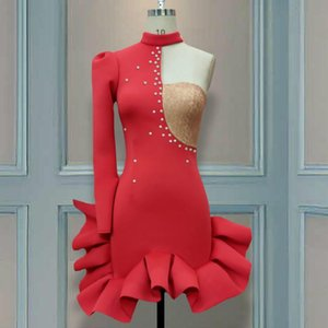 Christmas Party Dresses Ruffles Lace Patchwork Bead Sexy One Shoulder Slope Long Sleeve Women Vestido Bodycon Backless Celebrate