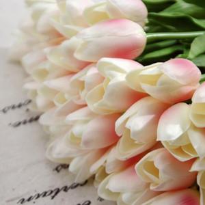 Decoración para el hogar PU Impresionante Holanda Mini Tulip Flower Real Touch Flower Flower Flores artificiales para la sala de fiesta Inicio Evento de hotel EWD2819