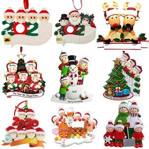 Creative Christmas Personalized Ornaments Survivor Cuarentena Familia 2 3 4 5 6 Máscara Muñeco de nieve Mano Sanitizada Navidad Decoración de Navidad Juguetes Colgantes CHR