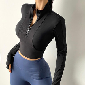 Yarım fermuar yoga giymek kadın fitness ceket uzun kollu sıkı montaj hızlı kuruyan spor üst açık eğlence t-shirt 270011