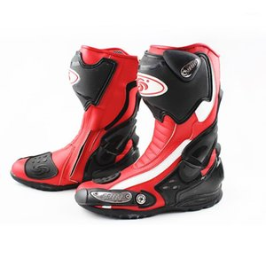 Botas de motocicleta de cuero de la microfibra de la tribu de montaje Profesional Motocross Racing Motorbike Moto Motorcycle Boots Shoes1