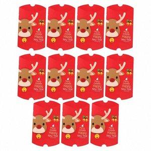 11pcs de Navidad elegante caja del caramelo de chocolate de la forma de almohada Galletas casos, la esfera de Navidad presenta los rectángulos para el festival del partido del hogar gZNL #