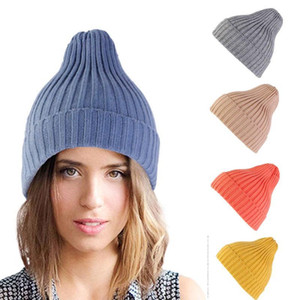Winter Knit Slouchy Hat Solid Knitted Warm Soft Trendy Hats Simple Korean Style Wool Casual Caps Elegant All-match Beanie